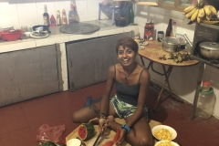 Nisha making breakfast at Homestay